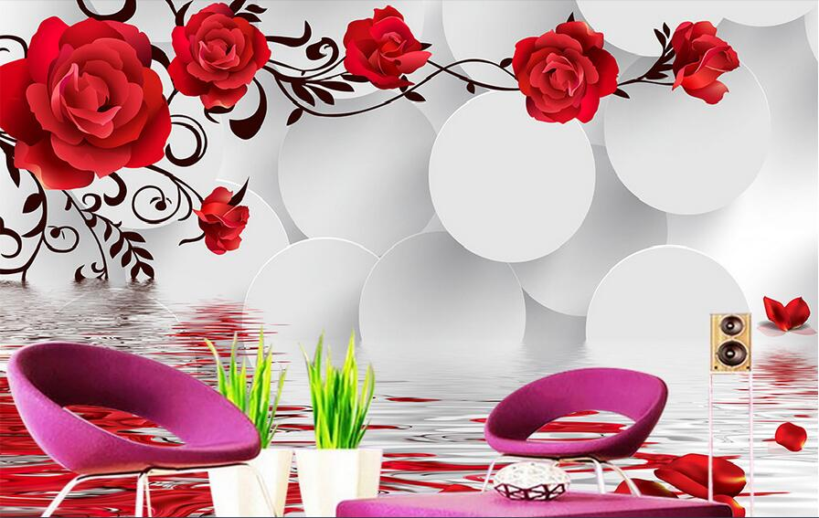 3d room wallpaper custom mural non-woven picture wall sticker 3 d pink roses circle  paintings photo wallpaper for walls 3d 3d room wallpaper custom mural non woven wall sticker 3 d fantasy green vine of roses painting photo wallpaper for walls 3d