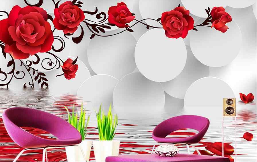 3D Retro Roses GNGN809 Wallpaper Mural Decal Mural Photo Sticker Decal Wall Self-Adhesive Wall Art Design 3d printed Removable Wallpaper