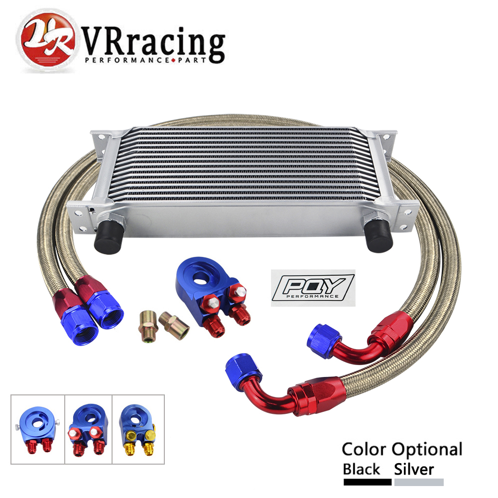 AN10 OIL COOLER KIT 16ROWS TRANSMISSION OIL COOLER +OIL FILTER ADAPTER + NYLON STAINLESS STEEL BRAIDED HOSE WITH PQY STICKER+BOX epman universal 10 row oil cooler kit with oil filter relocation kit for turbo race ep ok1012