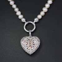 Thomas White Zircon Paved Freshwater Pearl Necklace With Open Able Locket Heart Pendant European TS Fine