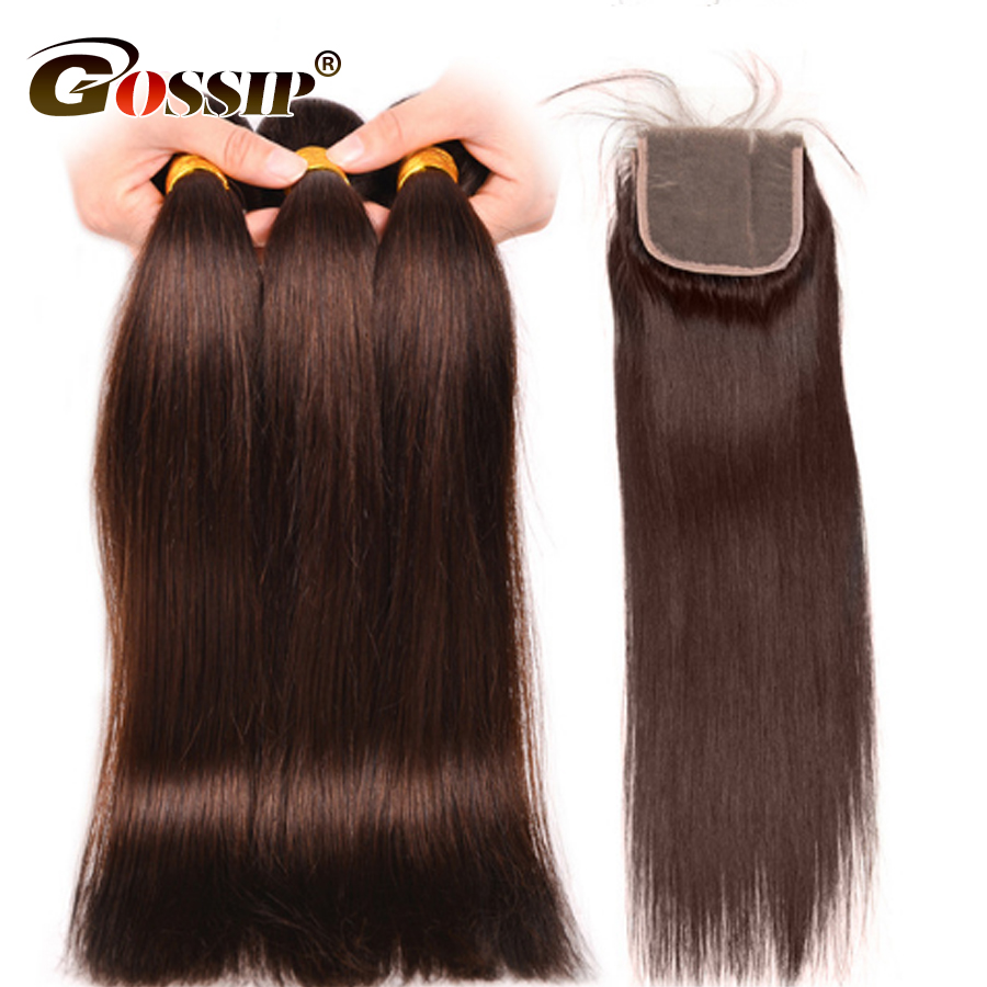 Human Hair 3 Bundles With Closure Peruvian Hair Weave With Closure Light Brown Color #4 Gossip Straight Non Remy Hair Extension