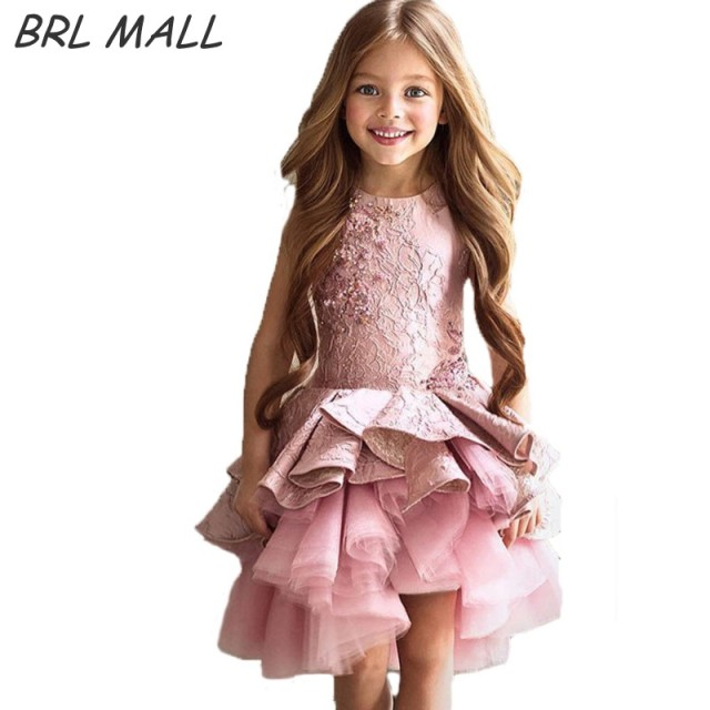Good Lovely Short Pink Flower Girl Dresses For Weddings Cheap Sleeveless Little  Girls Pageant Dress Kids Evening