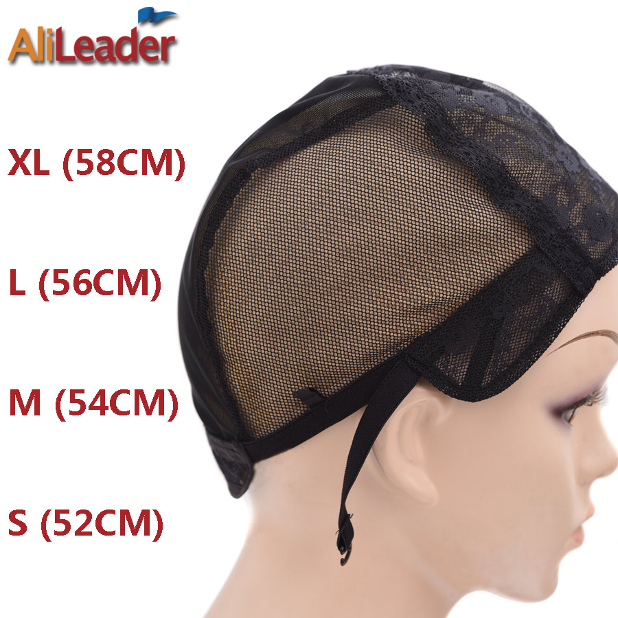 Alileader 1pcs/lot Xl/l/m/s Stretch Swiss Lace Wig Cap For Making Wigs With Adjustable Straps Black Hairnet Wig Making Materials Hair Extensions & Wigs