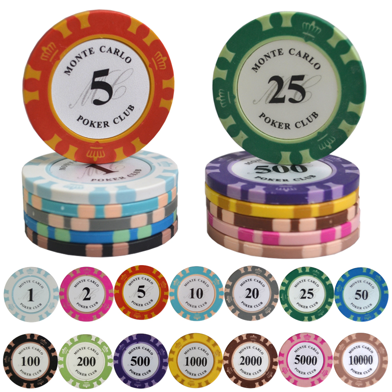 100PCS/Lot Monte Carlo Design Casino Coins Texas Holdem Clay Poker Chips Baccarat Upscale Set Crown 14g Poker Chips