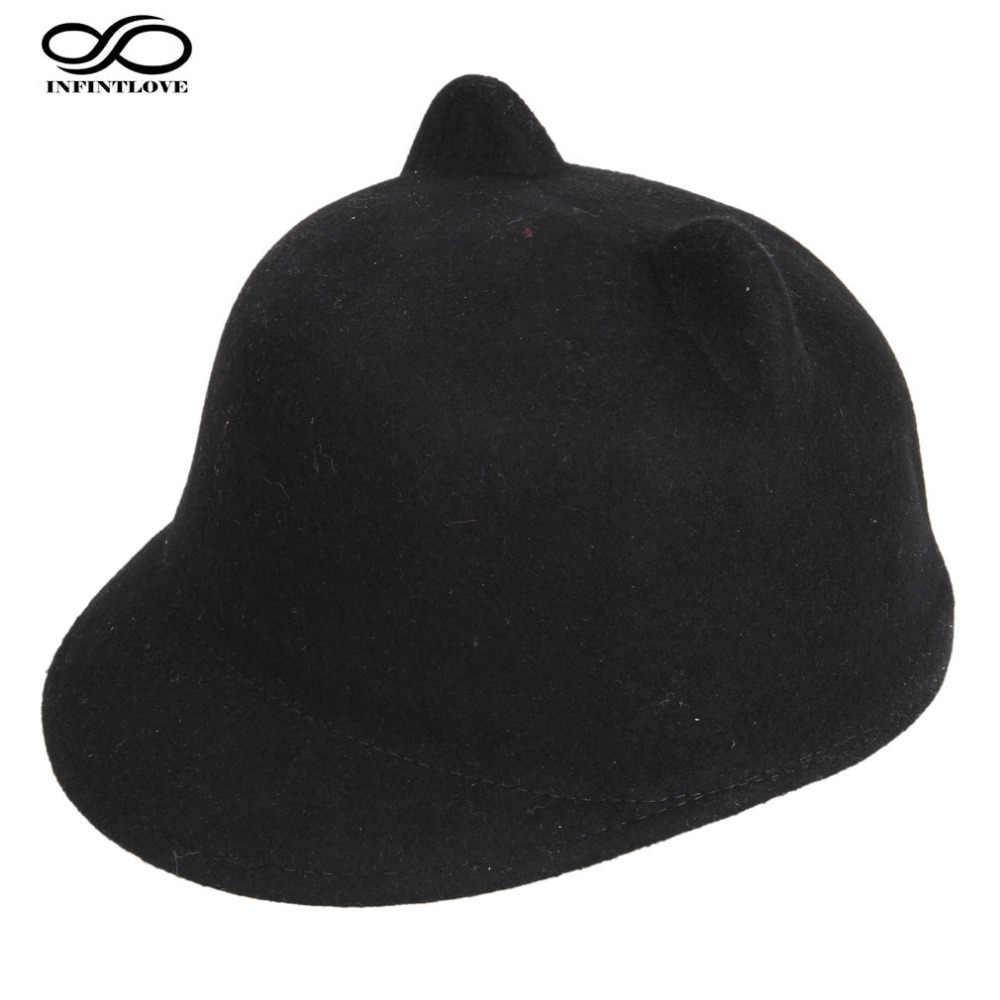 9d3aea4754b430 LUCKYLIANJI High Quality 100% Wool Felt Kid Children Demon Devil Hat Cat  Ears Derby Bowler