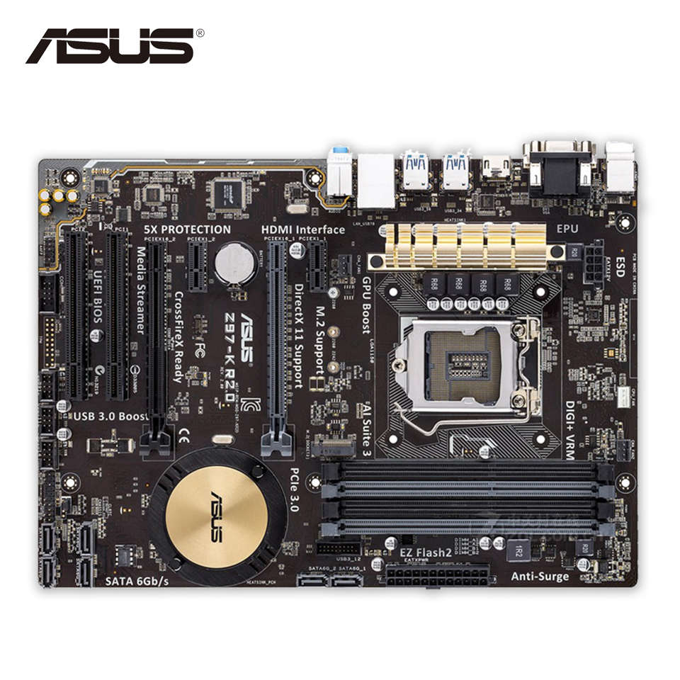 Asus Z97-K R2.0 Original Used Desktop Motherboard Z97 Socket LGA 1150 i7 i5 i3 DDR3 32G SATA3 ATX asus z97 a