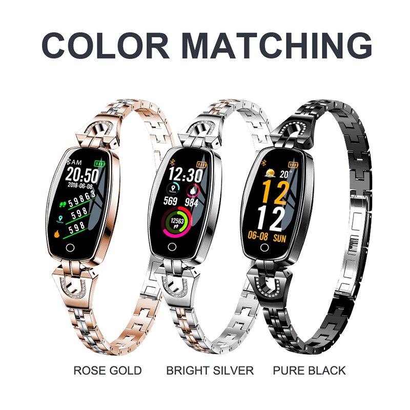 Fashion H8 Smart Bracelet Watch Heart Rate Blood Pressure Watch Pedometer Fitness Monitoring Bracelet for Women