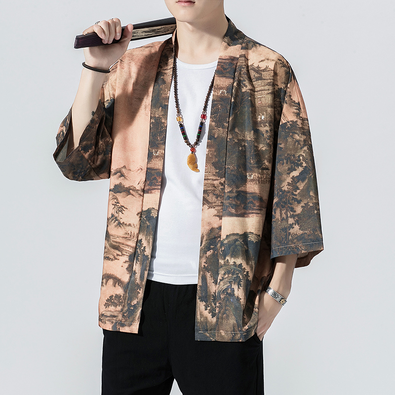 Japan Style Harajuku Kimono Cardigan 2019 Vintage Printed Outerwear Blouse Mens Cardigan Loose Jacket Coat Baggy Tops