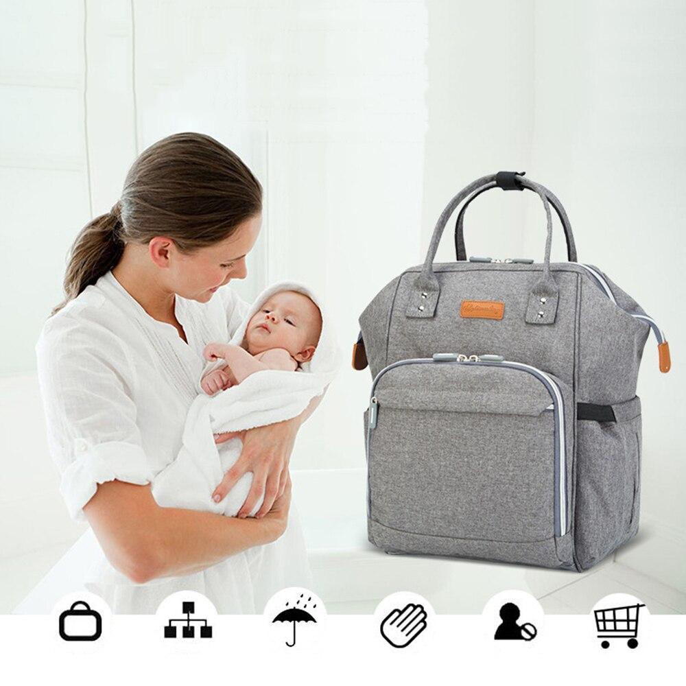 Cuidado del bebé bolsa de pañales de la momia maternidad carro cochecito organizador de gran capacidad mochila viajes Protable pañal
