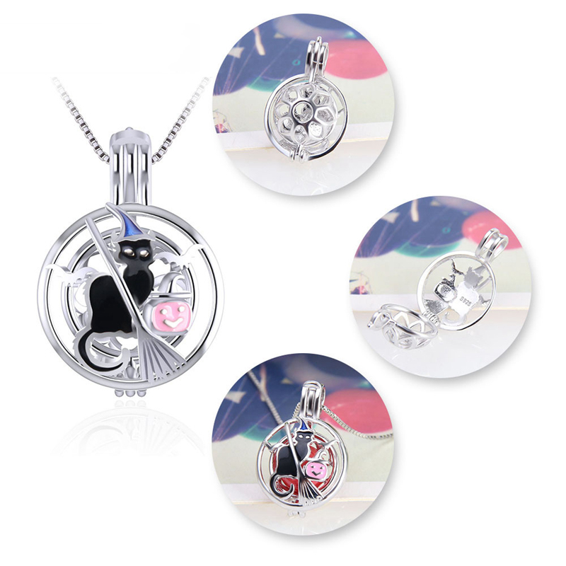 Image 3 - CLUCI 3pcs Silver 925 Halloween Pendant Black Witch Cat Round Shaped Charms Pendant Women 925 Sterling Silver Jewelry SC314SBPendants   -
