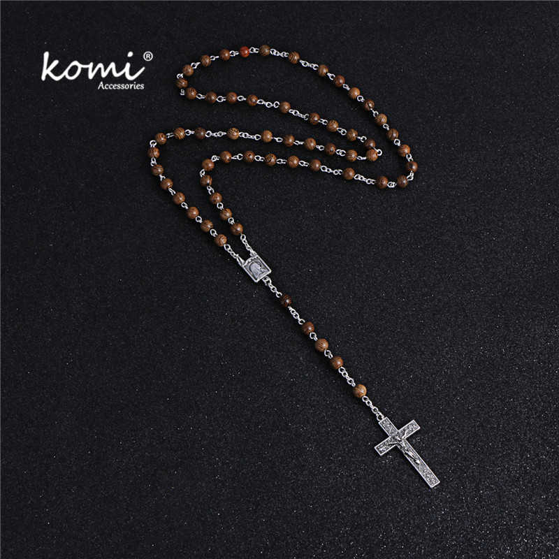 KOMi New Vintage Wood Beads Silver Cross Pendant Necklace Women Men Catholic Christ Religious Jesus Rosary Jewelry Gift R-084