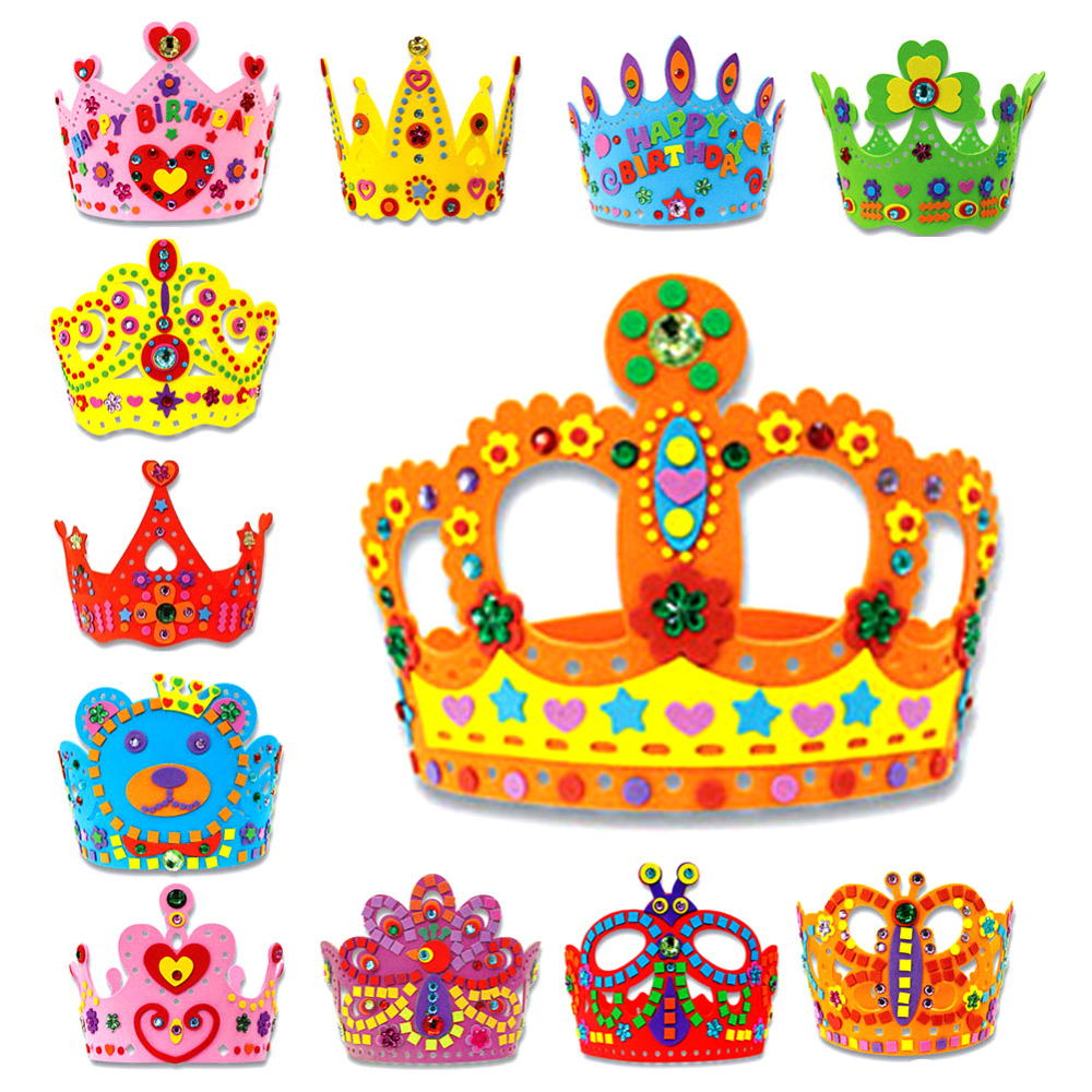 Nice 3d Eva Handmade Birthday Crown Adjustable Diy Hat Princess Crown Craft Children Gifts Puzzle Toys Birthday Party Decoration Tool Organizers