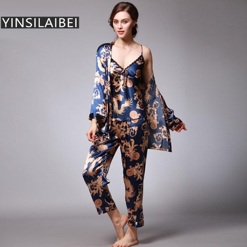 Sleepwear Women Nightgown Nightwear Faux Silk Satin Nightgowns Dressing Gown Long Pijama Set Female Robe Night Dress SY012#35 Рубашка