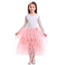 Fashion Wedding Bridesmaid Dress for Kids V Back Lace Tulle Ball Gown Long Dress Formal Princess Party Kids Dresses for Girls cute princess dress girl wedding lace dress party v neck dresses for girls ball gown sleeveless kids dresses for girls floral