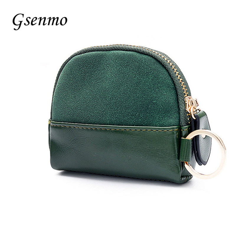 цена на 2017 Gsenmo New Frosted Leather Wallet Contrast Color Mini Coin Purse Black/Green/Brown Coin Bag Monedero Mujer Pouch In Stock