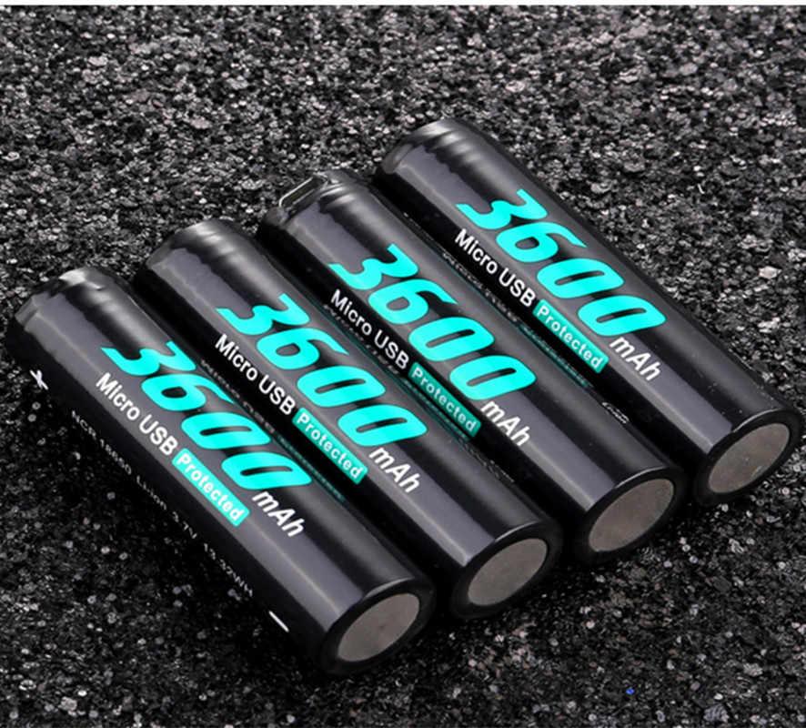 2 шт. Оригинальная Аккумуляторная Батарея SOSHINE 18650 3,7 в 3600 мАч со встроенным портом зарядного устройства Micro USB