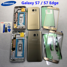 S7 Middle Frame Battery Back Cover For Samsung Galaxy G930F G935F G930FD G935FD S7 Edge Full Housing With Touch Glass Lens