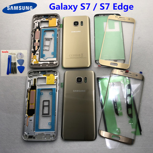 Image 1 - S7 Middle Frame Battery Back Cover For Samsung Galaxy G930F G935F G930FD G935FD S7 Edge Full Housing With Touch Glass Lens