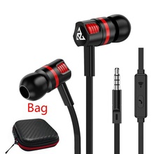 PTM Hot Sell In-ear Earphone with Microphone Handsfree Headset Super Bass Audio Earphones For Phones and Music