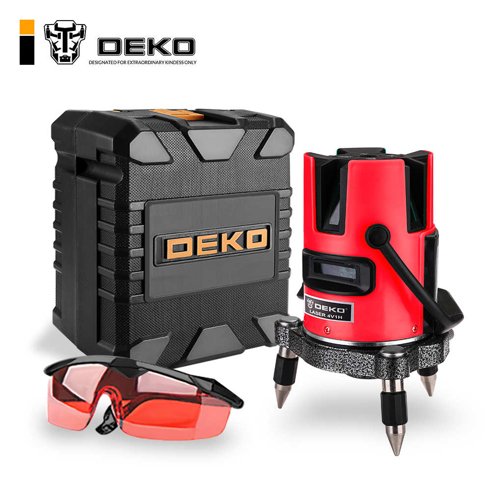 DEKO LL520R 5 Lines Laser Level 360 Self leveling Rotary Cross Laser Line Leveling With Tilt