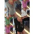 Mamelucos Womens Jumpsuit 2016 Sexy V Cuello corto de Manga Larga Del Vendaje de Bodycon Mono Del Mono Corta de Algodón Delgado de Una Sola Pieza Del Mameluco