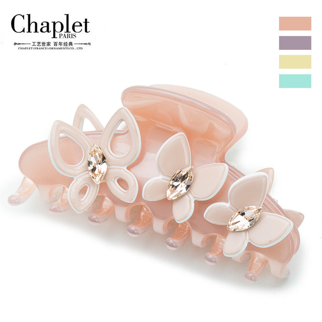 Chaplet 2016 New Elegant High Quality Women Hair Accessories Solid Rhinestones Hair Claws Butterfly Claw Clips Free Shipping