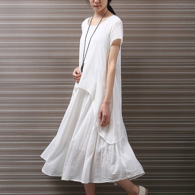 Japanese Style Cotton White Dress Pullover Irregular Midi Dress Elegant Style Casual Summer