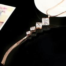 Trendy Simple Rhombus Zircon Necklace Geometric High Quality Alloy Tassel  Jewelry Dress Sweater Wedding Accessories