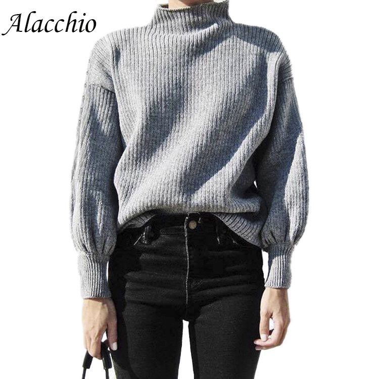 Alacchio Sweater Long Lantern Sleeves Set Of Solid Color Ladies Casual  Stitching Loose Round Neck Fine Wool Winer
