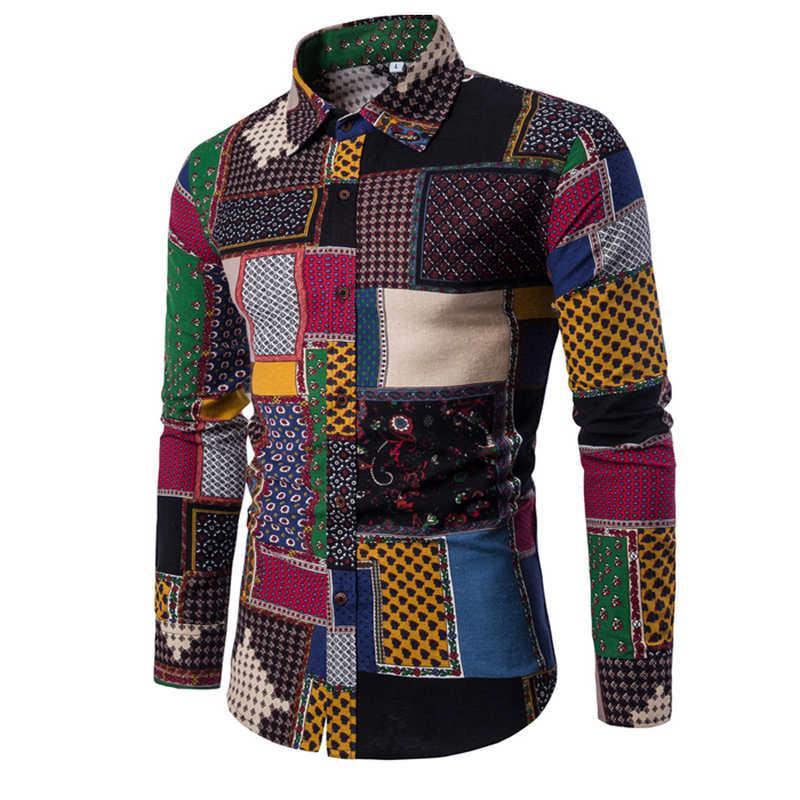 2019 Clothing Fashion Male Shirt Flax Dress Shirts Slim Fit Turn-Down Men Long Sleeve Shirt Mens Hawaiian Shirt Big Sizes