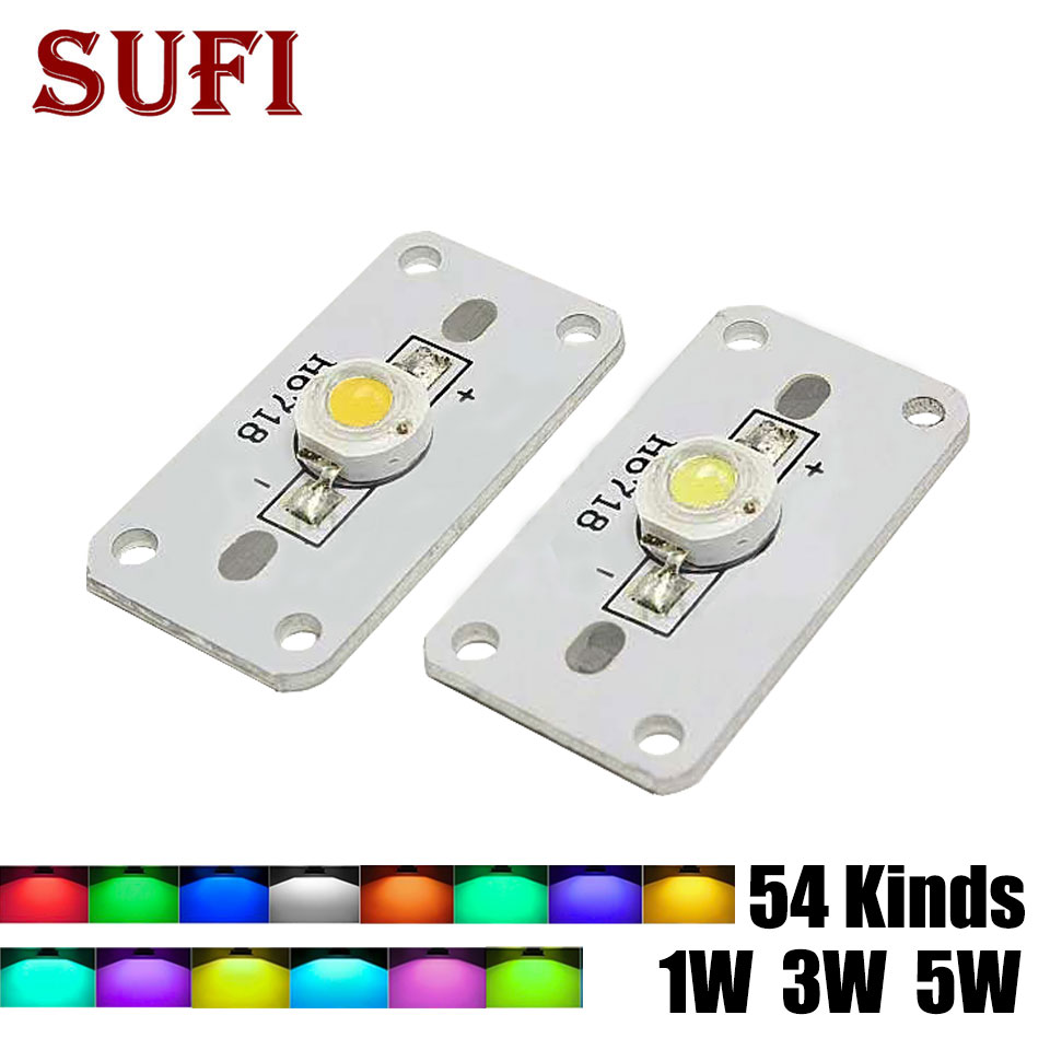 10pcs 1W 3W 5W Warm Natural Cool White Blue Red Green Yellow IR Full Spectrum High Power <font><b>LED</b></font> Chip Light with <font><b>PCB</b></font> Aluminum Base image