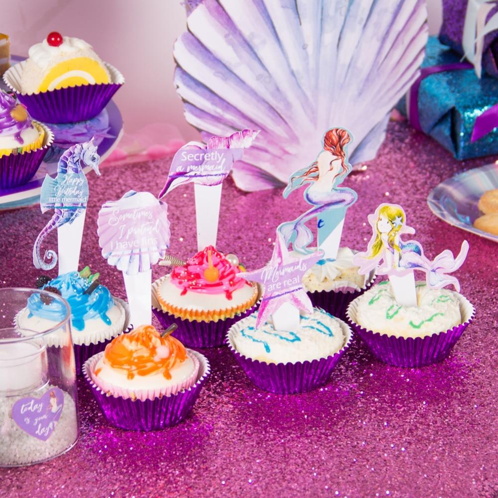 Sirena Fiesta Cupcake Kit De Cumpleaños Feliz Sirenita Caballito De Mar Estrella De Mar Bajo El Mar Chica Fiesta De Cumpleaños