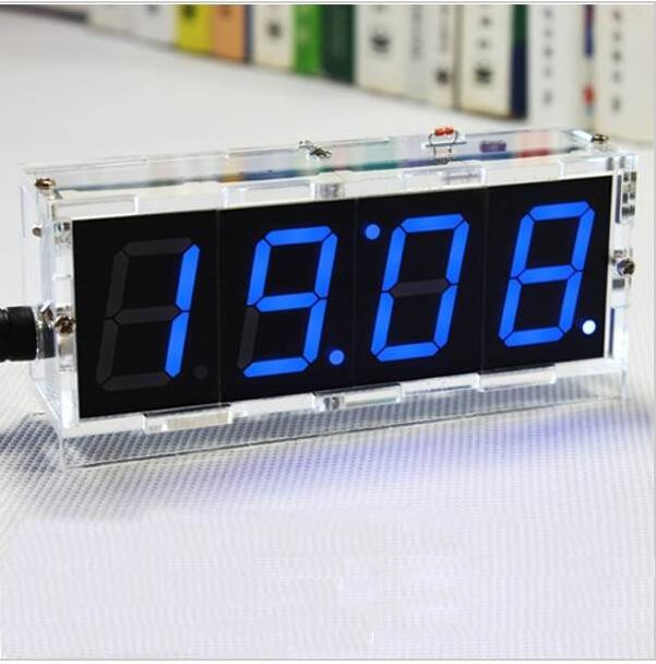 Factory Wholesale Free Shipping DIY 4 Digit LED Electronic Clock Kit Temperature Light Control Version wholesale diy yangtaishangdexiaoniao
