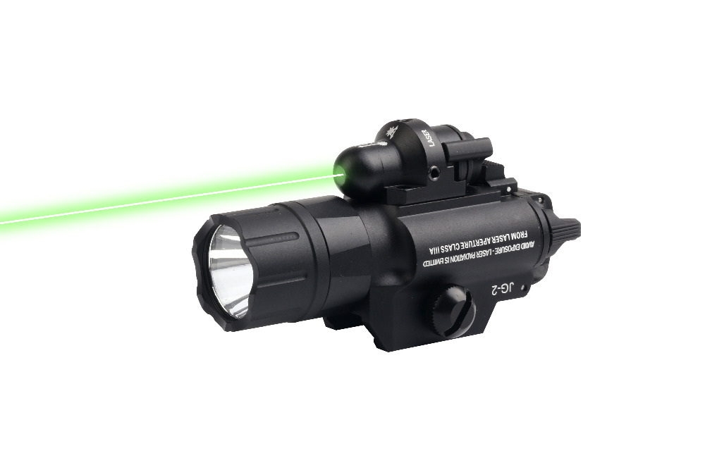 Pistol Gun Flashlight 500 Lumens Tactical LED Flashlight With Green Laser Sight for Picatinny Rail For Hunting