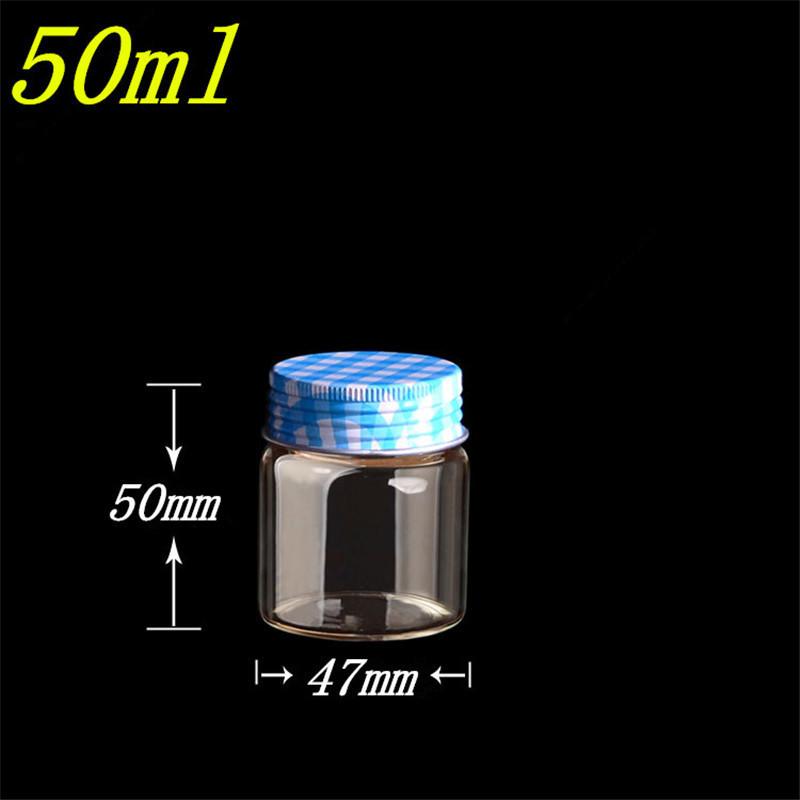 50ml Glass Bottles Aluminium Screw Cap Silicone Containers Stopper Empty Jars Glass Food Capsule Liquid Bottles