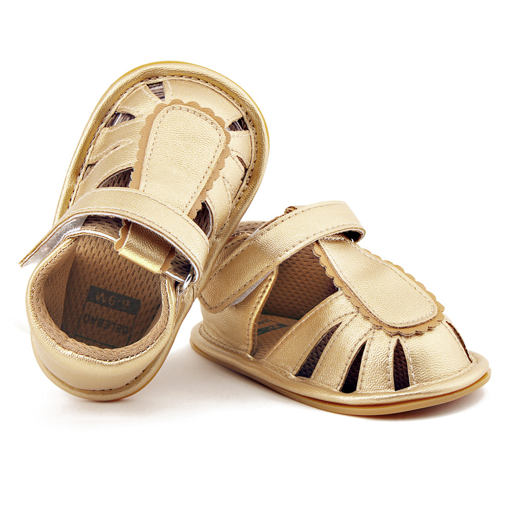 2018 summer fashion gold hard rubber sole pu leather baby boys sandals baby moccasins shoes baby solid sandals