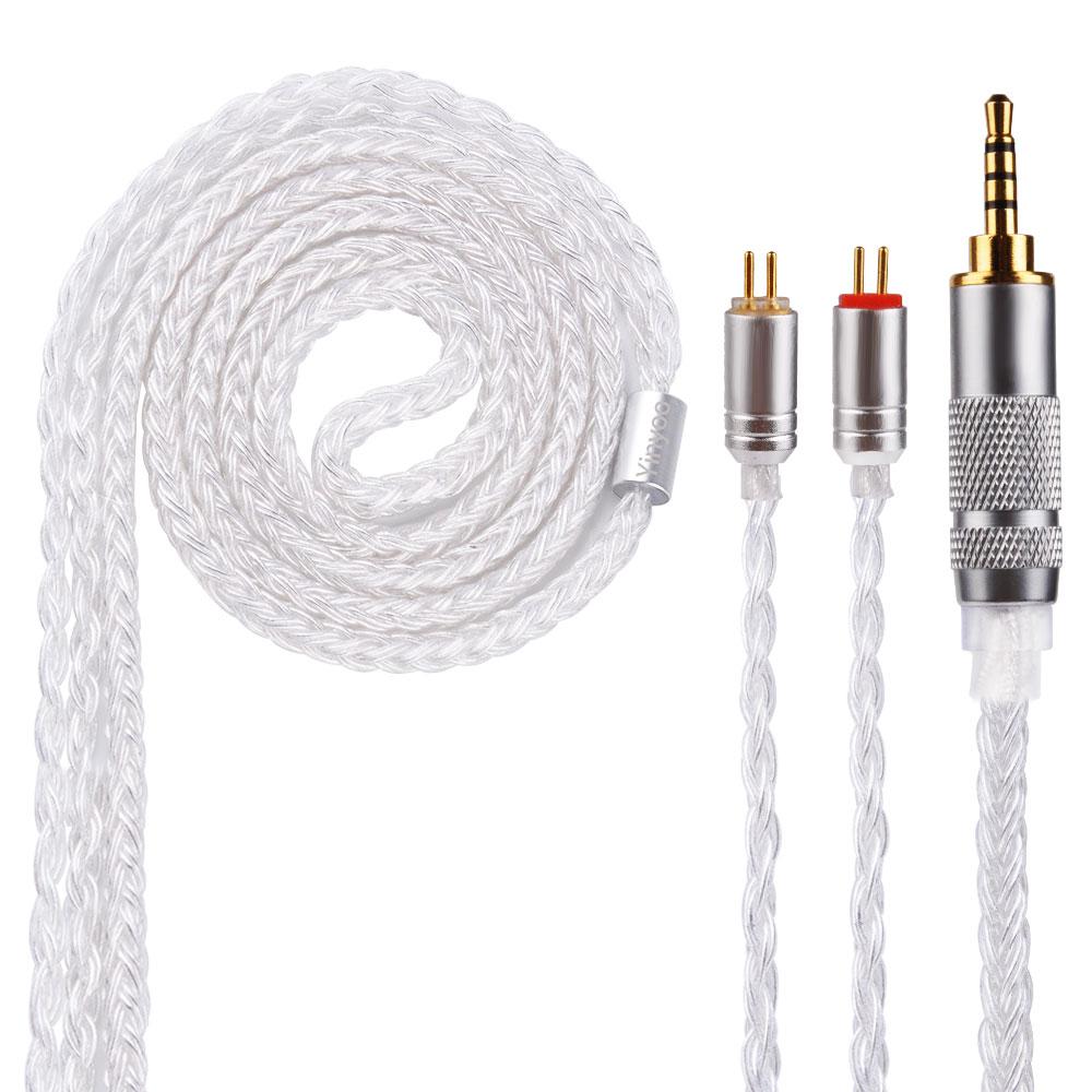Yinyoo 16 Core Argent Plaqué Câble 2.5/3.5/4.4mm Câble Équilibré Avec MMCX/2pin Connecteur Pour LZ A5 HQ5 HQ6 ZS10 ZS6 SE846 SE215
