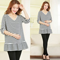 2017 New Striped V-neck Cotton Maternity T-shirts Spring/Fall Pregnancy T shirts Plus Size Pregnancy Clothes for Pregnant Women