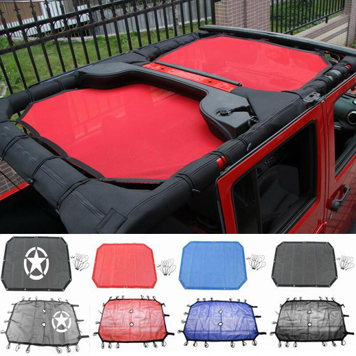 Buy newest roof sunshade mesh top cover anti uv rays interior accessories for Jeep wrangler interior accessories