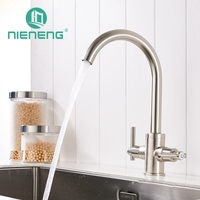 Nieneng Design 360 Rotating Pedal Faucet Chrome Silver Double Handle Swivel Kitchen Sink Mixer Tap Kitchen