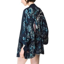 цена на Women Bats Sleeve Lady Cardigan Kimono Jacket Shawl Lichia Harajuku Summer Kimono Women Phoenix Printed Sleeve Loose Top