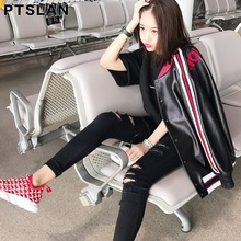 Ptslan Famous 2017 Hot Sale Spring Autumn Fashion Brand Women Real Leather Jacket Zipper Motorcycle Short Genuine Jackets