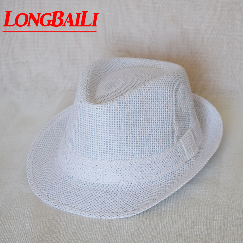 87e607b2 US $38.3 |56cm Kids White Straw Fedora Hats For Children Boys Summer Jazz  Hats Baby Top Hat 10pcs/lot Free Shipping GPXS014-in Men's Fedoras from ...