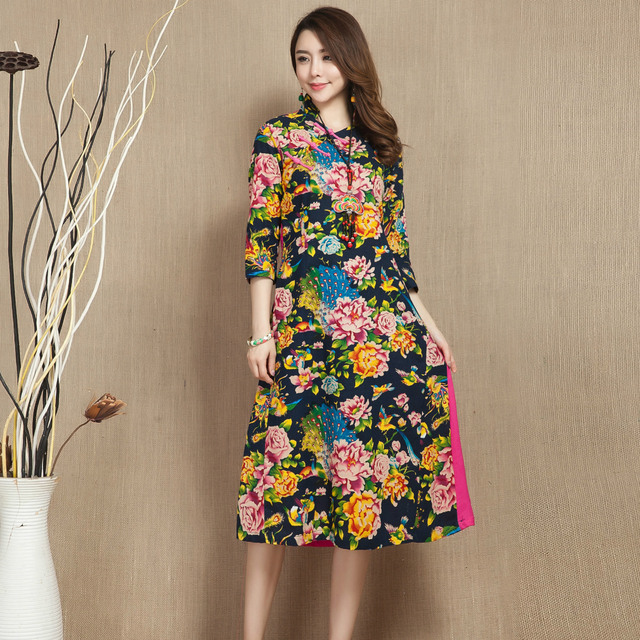 National Wind Women Half Sleeve Slim Long Large Size Cotton and Linen Floral Print Dress Improved Cheongsam Woman