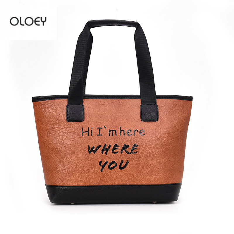 OLOEY 2018 autumn winter new women 39 s bucket bag fashion wild handbag large capacity shoulder bag letter pattern tote bag in Shoulder Bags from Luggage amp Bags
