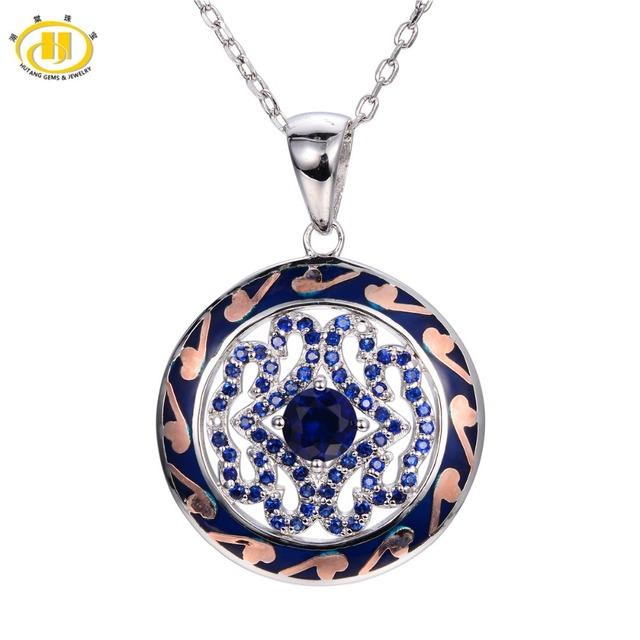 Hutang Creado Azul Zafiro Del Esmalte Colgante 925 Collar de Plata Esterlina Chino Elemento Vintange Joyería Fina de Las Mujeres