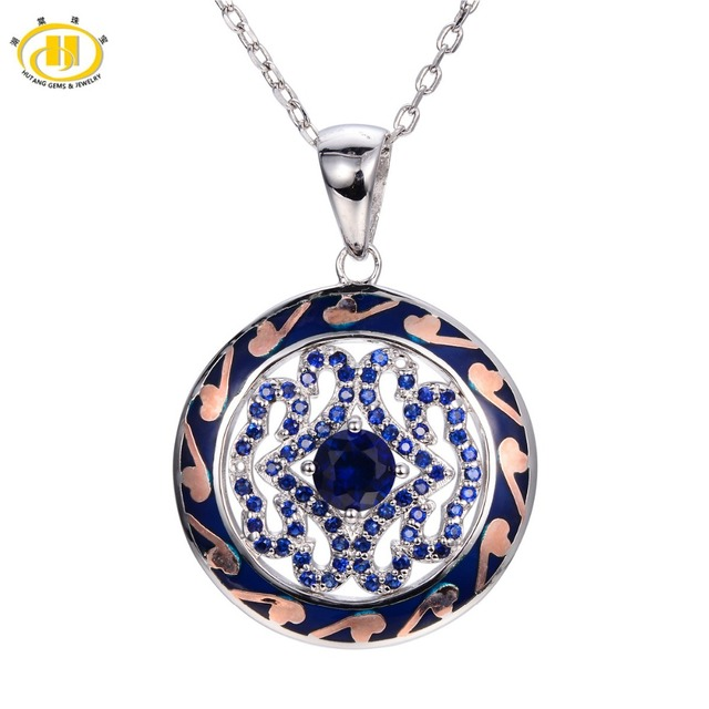 Hutang Created Blue Sapphire Enamel Pendant 925 Sterling Silver Necklace Chinese Element Vintange Fine Jewelry Women's
