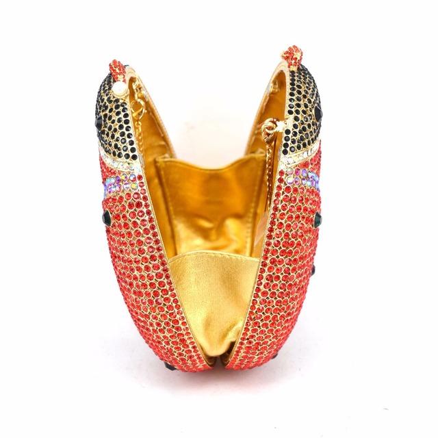 Gold-plated, fashion set rhinestones, Lady Beetle evening bag