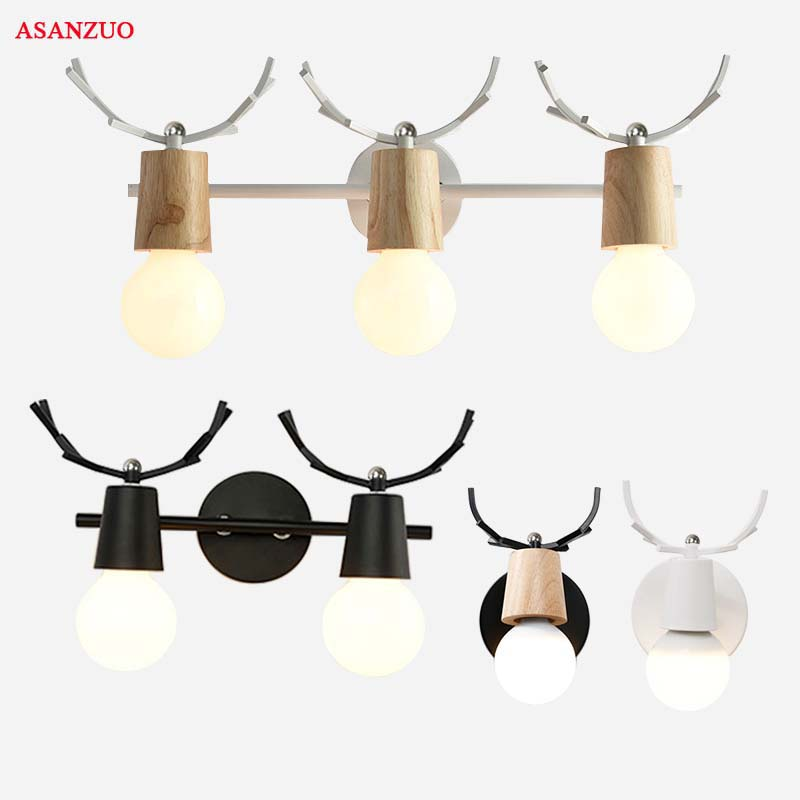 Led Indoor Wall Lamps Nordic Mirror Headlights Led Creative Antler Wall Lamp Bathroom Bathroom Mirror Cabinet Lamp Dressing Table Mirror Lamp