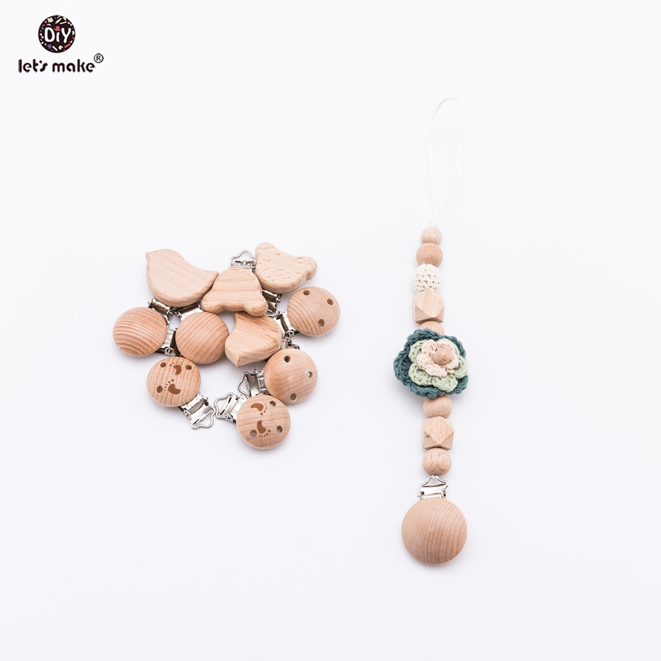 Let's make 20pcs/lot Baby Accessories Pacifier Metal Dummpy Holder DIY Natural Wooden Cartoon Wooden Teether Personalized Clip